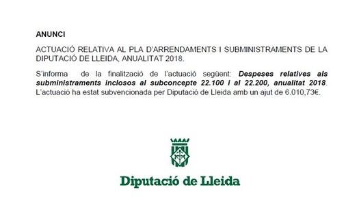 ACTUACIÓ RELATIVA AL PLA D'ARRENDAMENTS I SUBMINISTRAMENTS DE LA DIPUTACIÓ DE LLEIDA, ANUALITAT 2018.