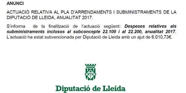 Actuació relativa al Pla d'Arrendaments i Subministraments de la Diputació de Lleida, anualitat 2017