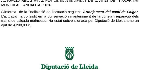 Actuació relativa al Pla de manteniment de camins de titularitat municipal, anualitat 2016