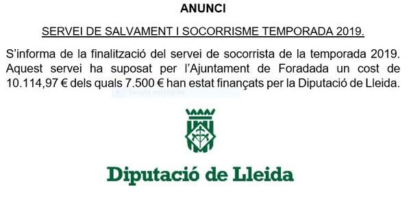 ANUNCI SERVEI DE SALVAMENT I SOCORRISME TEMPORADA 2019.