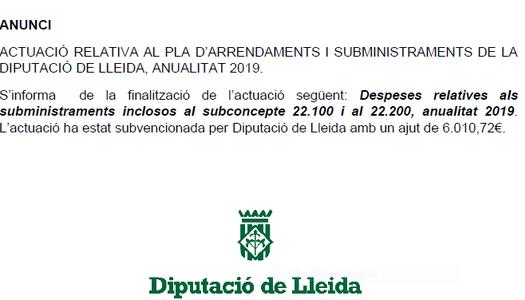 Anunci Pla d'Arrendaments i Subministraments 2019