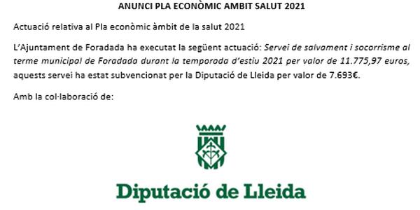 ANUNCI PLA ECONÒMIC ÀMBIT SALUT 2021