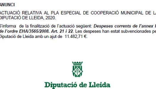 ANUNCI PLA ESPECIAL DE COOPERACIÓ MUNICIPAL DE LA DIPUTACIÓ DE LLEIDA 2020