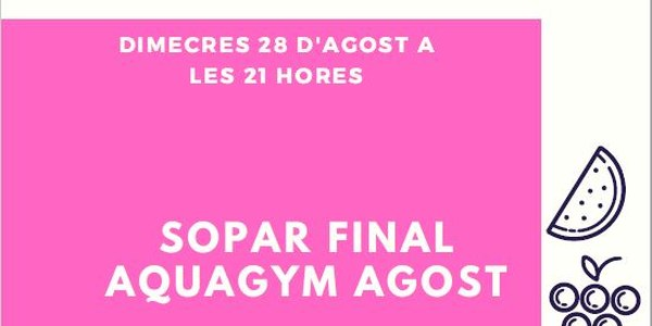 Sopar final Aquagym agost 2019